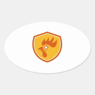 Rooster Eye Shutter Crest Retro Oval Sticker