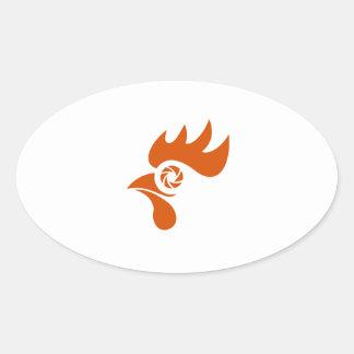 Rooster Eye Shutter Retro Oval Sticker