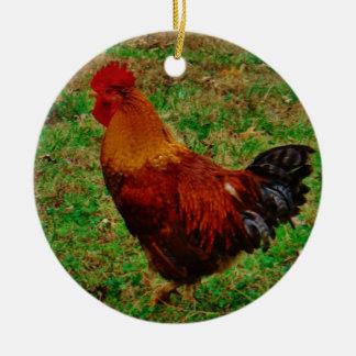 Rooster Facing Left Ceramic Ornament