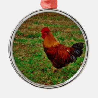 Rooster Facing Left Metal Ornament
