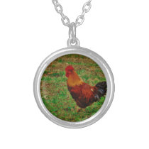 Rooster Facing Left Silver Plated Necklace