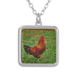 Rooster Facing right Personalized Necklace
