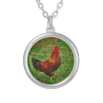 Rooster Facing right Silver Plated Necklace