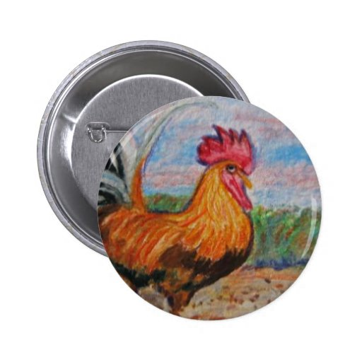 Rooster farm animal art watercolor aceo printed on 2 inch round button