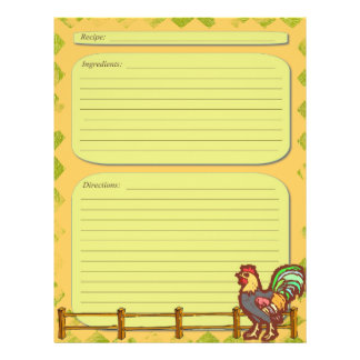 Rooster farm theme recipe page