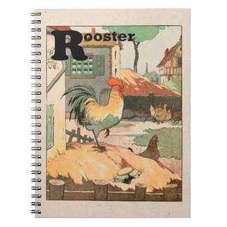 Rooster Farm Yard Spiral Notebook
