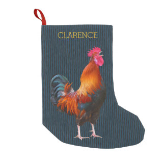 Rooster Farmer's Christmas Stocking With Name Small Christmas Stocking