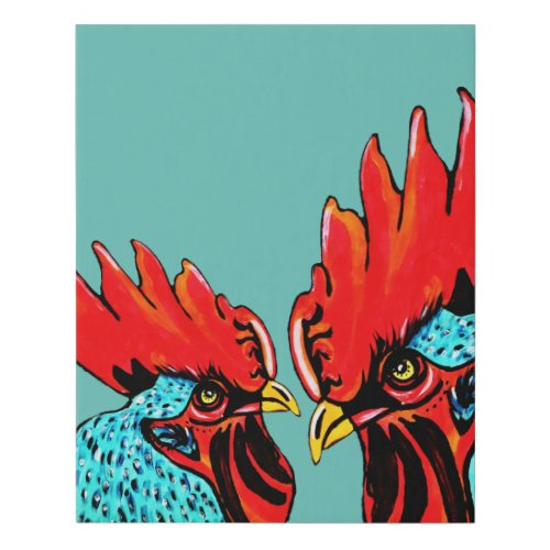 Two Roosters Faux Canvas Print Artwork