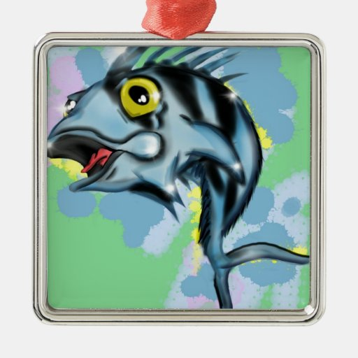 rooster fish metal ornament
