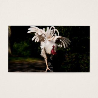 Rooster flapping wings business card