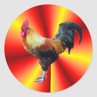 Rooster flash classic round sticker