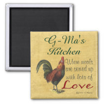 Rooster G-Ma's Kitchen Served With Love Magnet