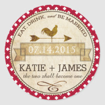 Rooster Gingham Check Rustic Wedding Label