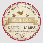 Rooster Gingham Check Rustic Wedding Label Classic Round Sticker
