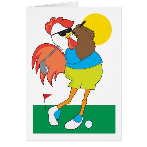 Rooster Golfer Cards