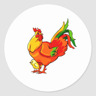 rooster green tail with baby chick.png classic round sticker