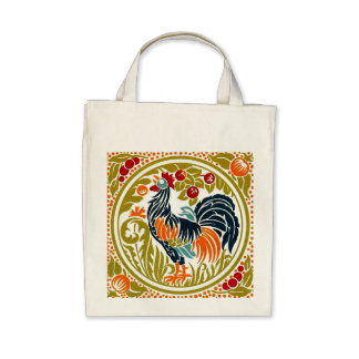 Rooster Grocery Tote Canvas Bags