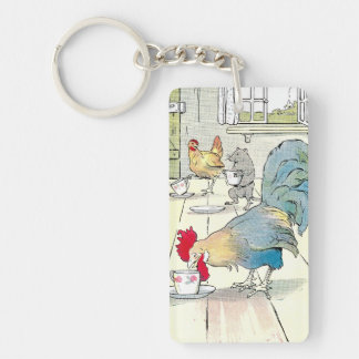 Rooster has a Cup of Tea Keychain