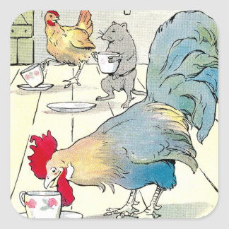Rooster has a Cup of Tea Square Sticker