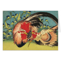 """Rooster, Hen and Chicken"" Note Card"