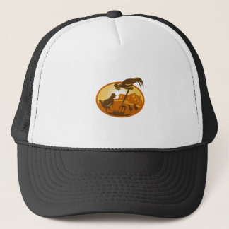 rooster hen chicken and chicks spade retro trucker hat