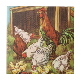 Rooster Hen & Chicks Country Rural kitchen Tile
