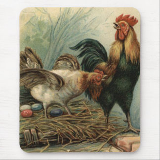 Rooster Hen Easter Colored Painted Egg Nest Mouse Pad