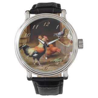 Rooster Hen Farm painting Wrist Watches