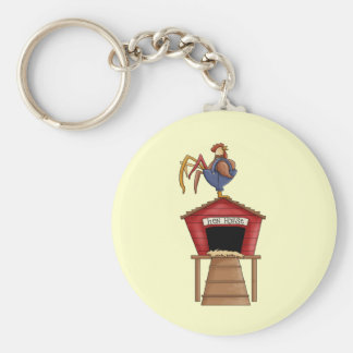 Rooster Hen House Keychain