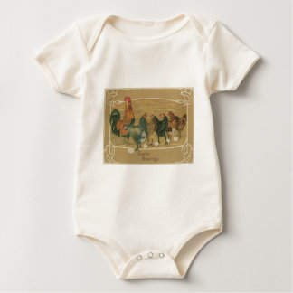 Rooster Hen Laying Easter Egg Baby Bodysuit