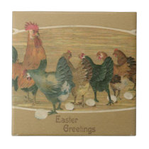 Rooster Hen Laying Easter Egg Ceramic Tile