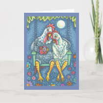 ROOSTER & HEN LOVERS, CHICKEN GREETING CARD Verse