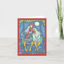 ROOSTER & HEN LOVERS, CHICKEN NOTE CARD Blank