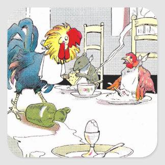 Rooster, Hen & Mouse at the Breakfast Table Square Sticker
