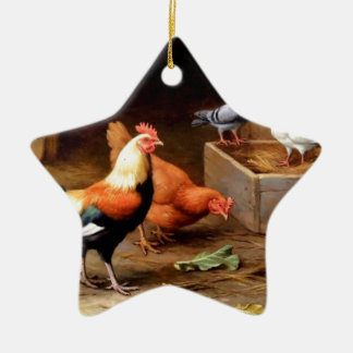 Rooster hen pigeons christmas tree ornament