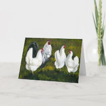 """Rooster & Hens"" Art Greeting Card"