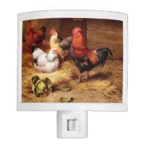 Rooster Hens Chicken Farm Birds Painting Night Light