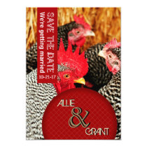 Rooster Hens Country Wedding Save the Date Cards