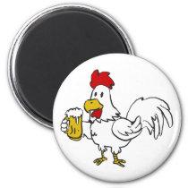 Rooster holding a mug of beer magnet