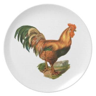 Rooster Illustration #1 Melamine Plate