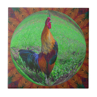 Rooster In Bubble Nature Abstract Art Tile