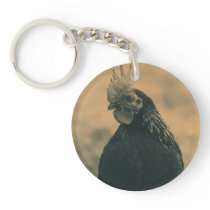 Rooster in Sepia Keychain
