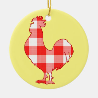 Rooster in Silhouette Cock-A-Doodle-Doo Ceramic Ornament