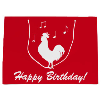 Rooster in Silhouette with Musical Notes Large Gift Bag