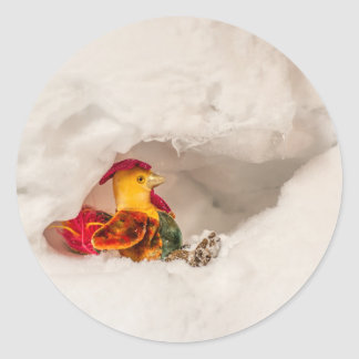 Rooster in Snow Cave; Children; Funny Round Sticker