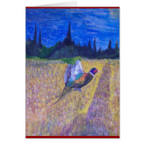 Rooster In The Field Card
