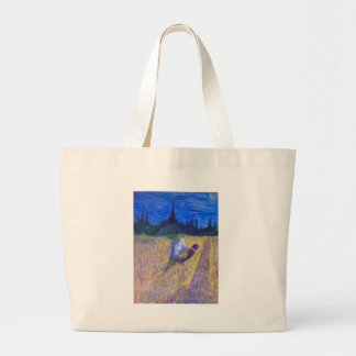 Rooster In The Field Large Tote Bag