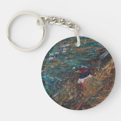 Rooster In The Field Single-Sided Round Acrylic Keychain