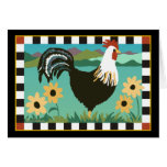 Rooster in the Flowers Card