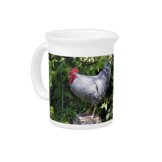 Rooster in the Gardens Drink Pitchers